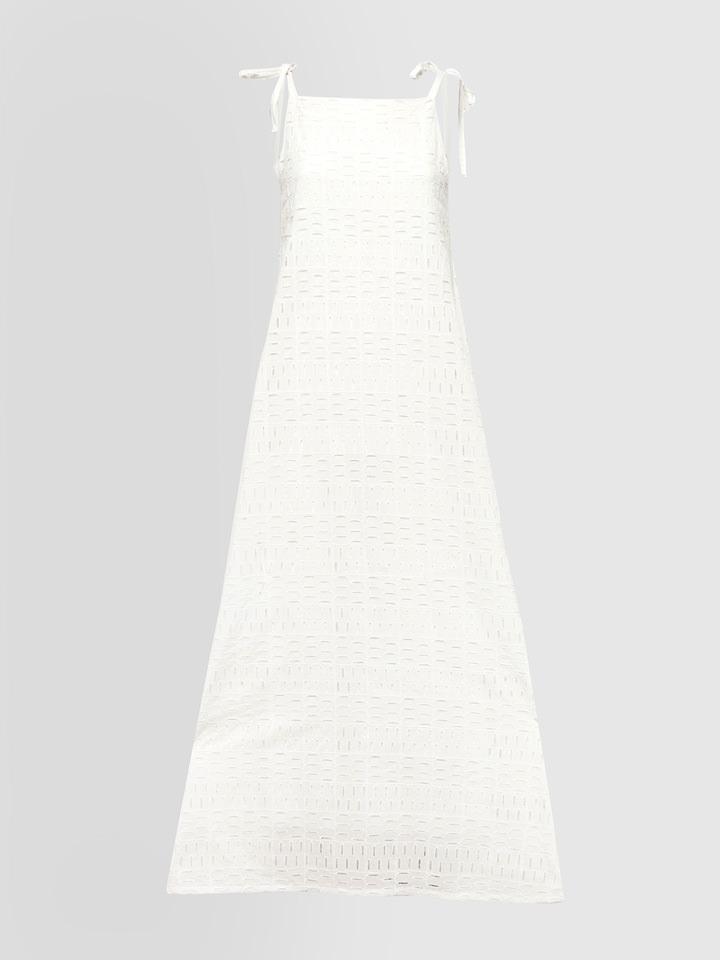 ALPHA STUDIO: BRODERIE ANGLAISE GEOMETRY PATTERN LONG DRESS