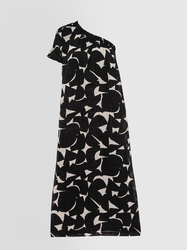 ALPHA STUDIO: GEOMETRIC PRINT ONE SHOULDER DRESS