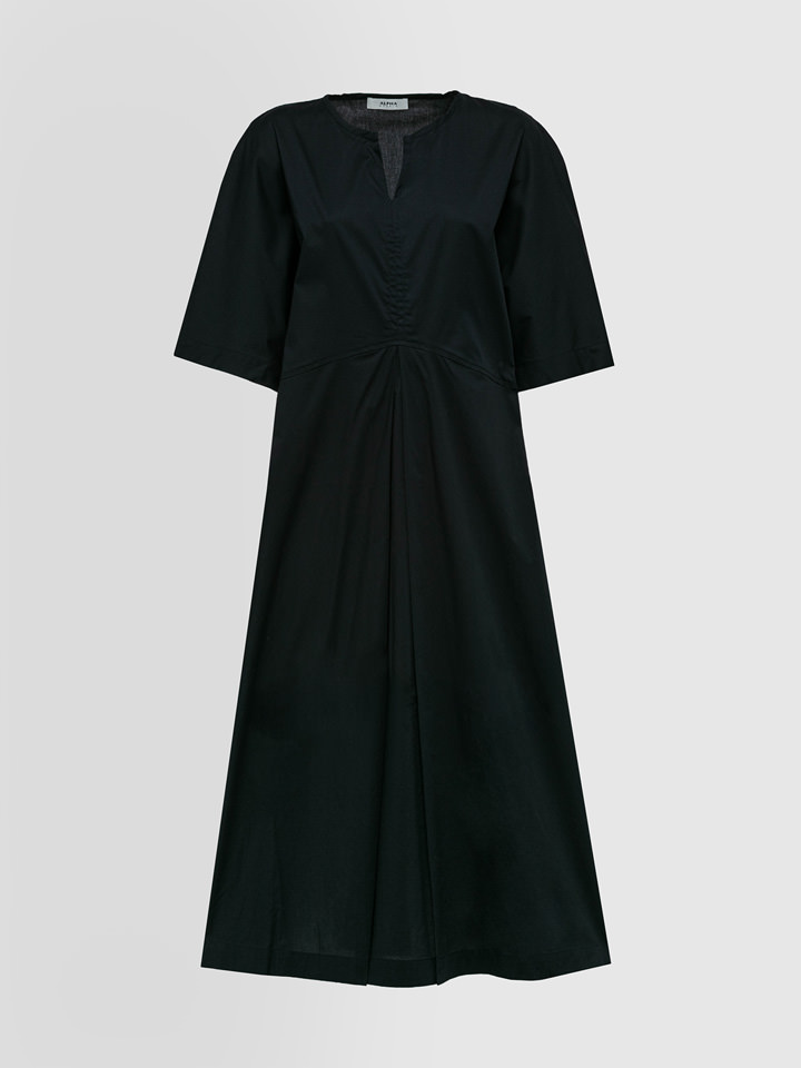 ALPHA STUDIO: GRANDAD NECK DRESS IN POPLIN