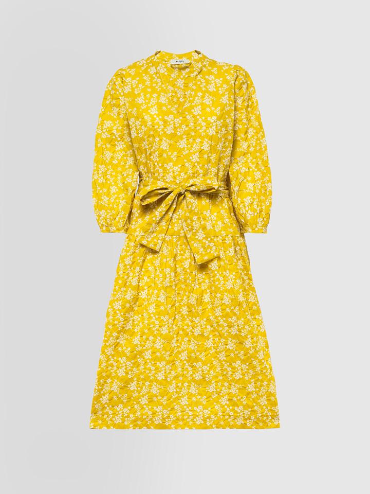 ALPHA STUDIO: LIBERTY PRINT GRANDAD NECK DRESS