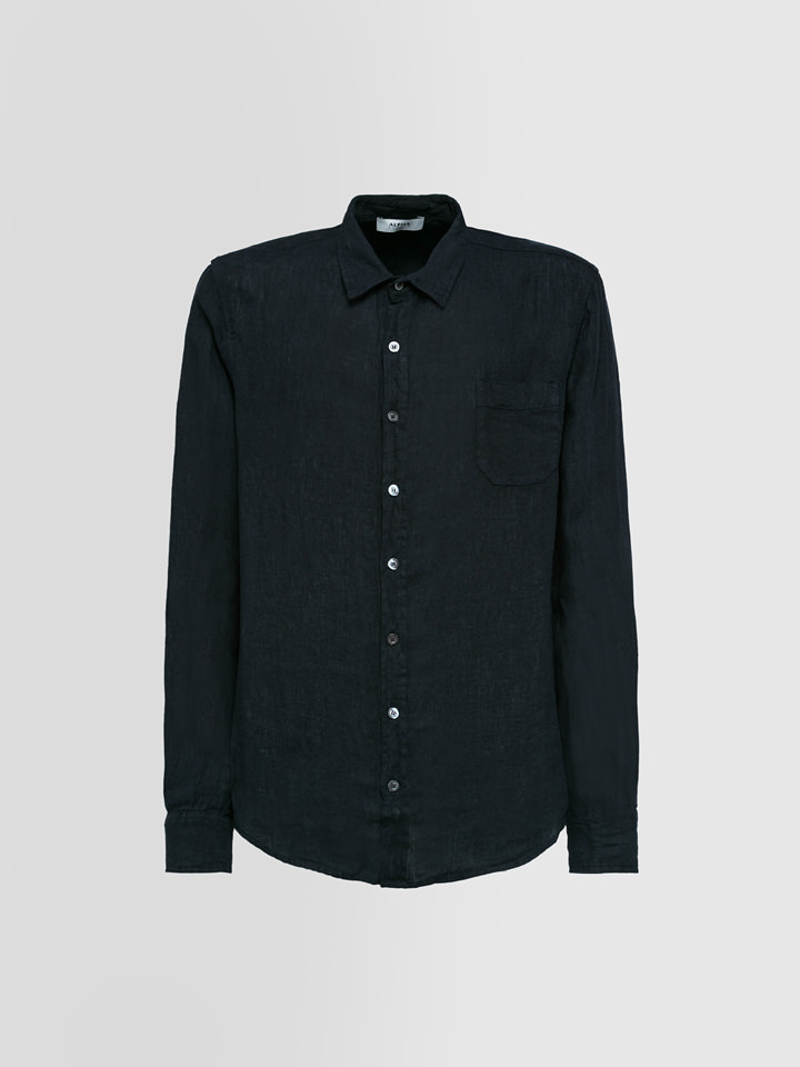 ALPHA STUDIO: GURU SHIRT IN SHUTTLE-WOVEN LINEN