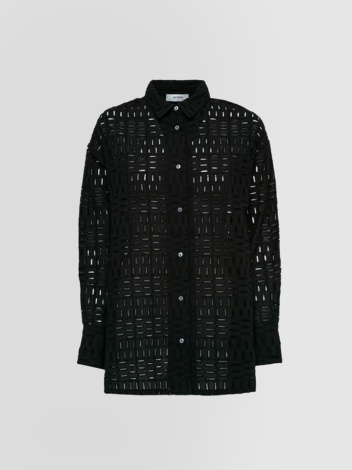 ALPHA STUDIO: OVERSIZED SHIRT BRODERIE ANGLAISE GEOMETRY PATTERN