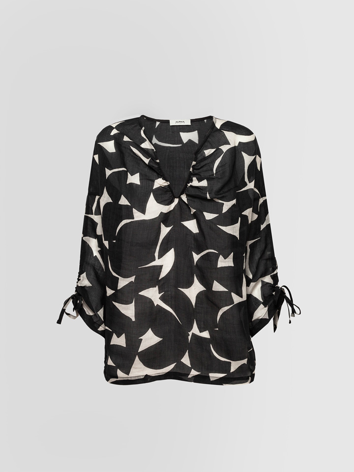 ALPHA STUDIO: GEOMETRIC PRINT GRANDAD NECK SHIRT
