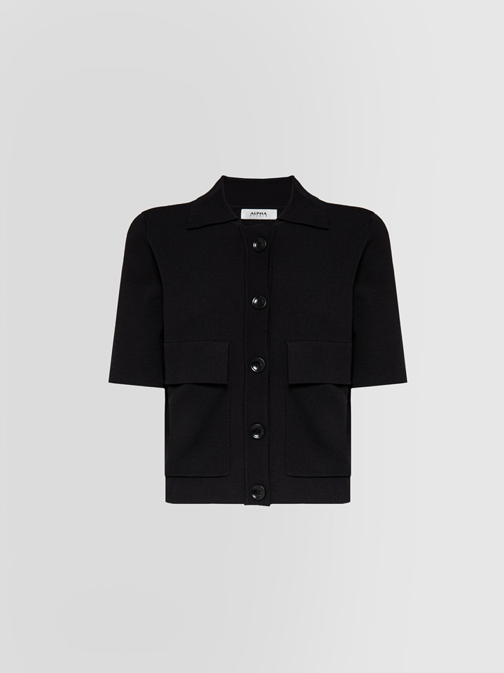 ALPHA STUDIO: TRICOT SHIRT IN COLD-DYED VISCOSE