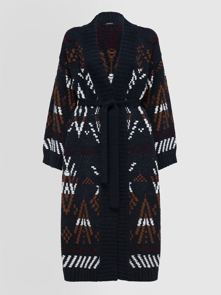 ALPHA STUDIO: CARPET JACQUARD LONG CARDIGAN IN MIXED WOOL