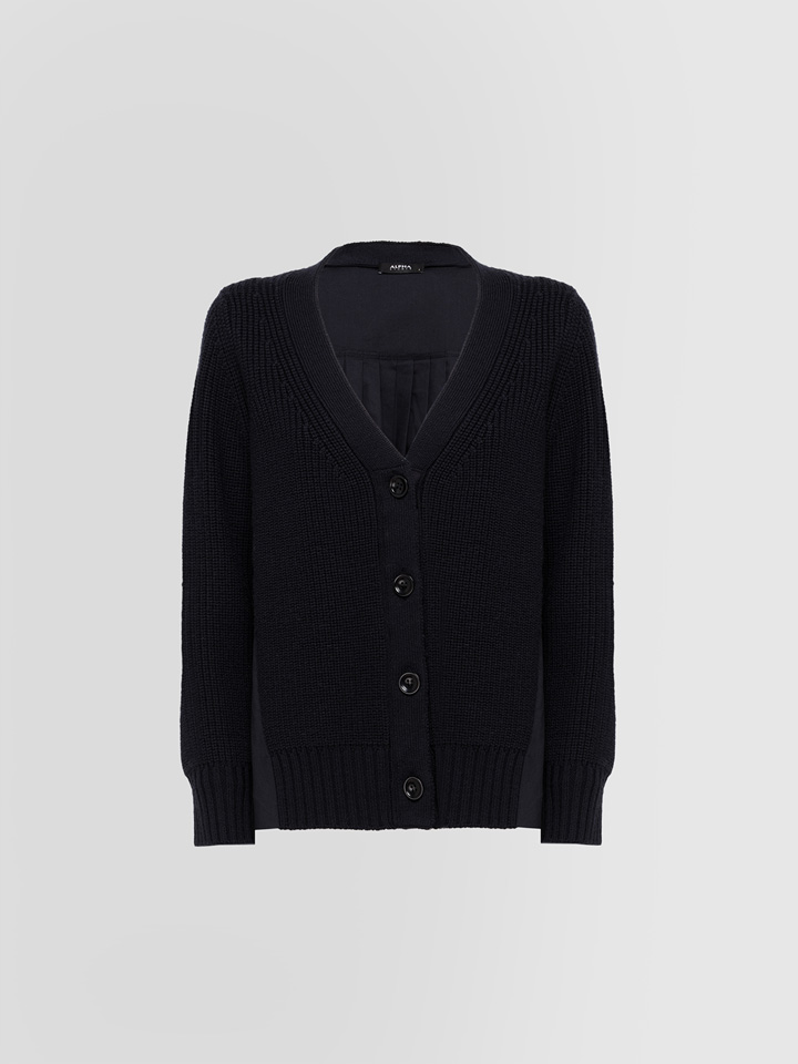 ALPHA STUDIO: PLEATED KNIT + WOVEN CARDIGAN IN WOOL