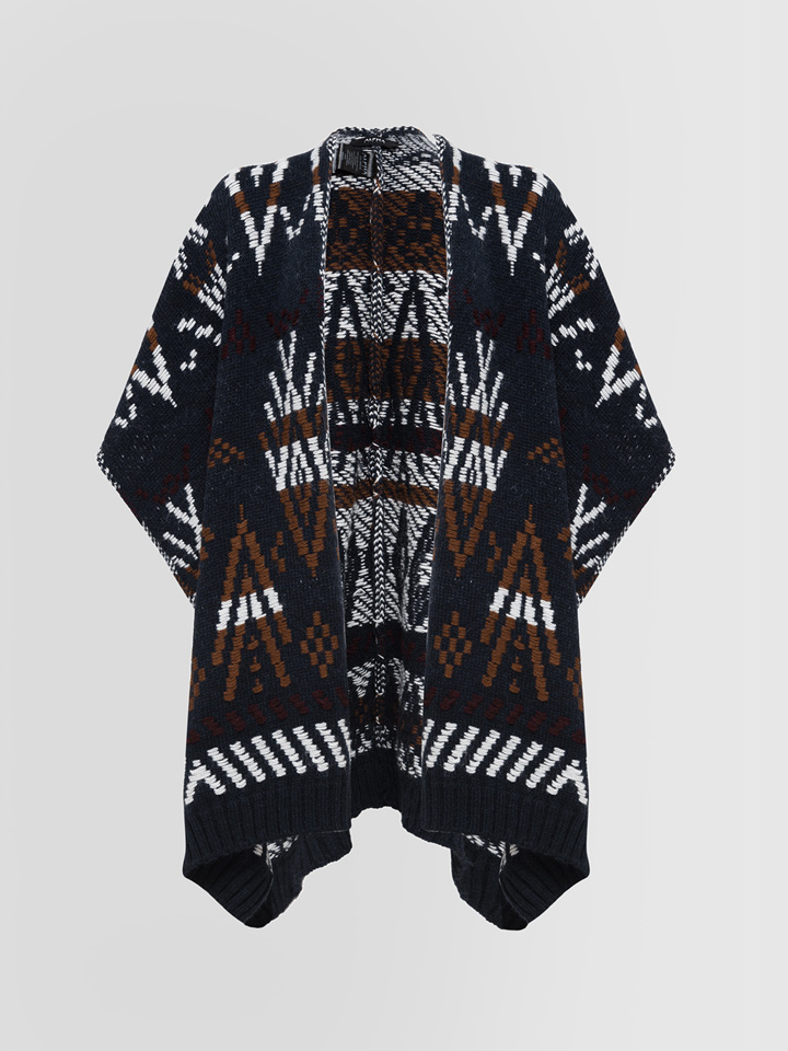 ALPHA STUDIO: CARPET JACQUARD PONCHO CARDIGAN IN MIXED WOOL