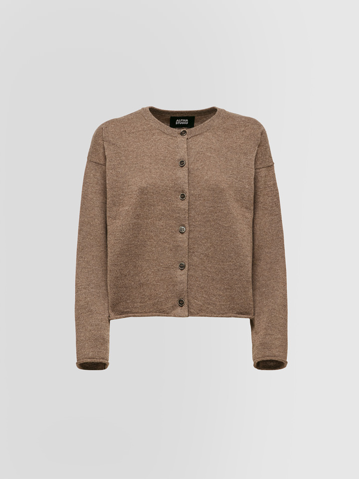 ALPHA STUDIO: REBECCA COMBINED CARDIGAN IN WOOL AND CASHMERE