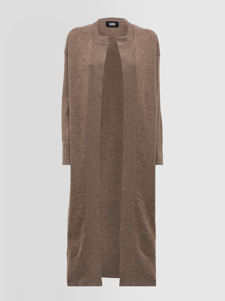 ALPHA STUDIO: REBECCA COMBINED LONG CARDIGAN IN WOOL AND CASHMERE