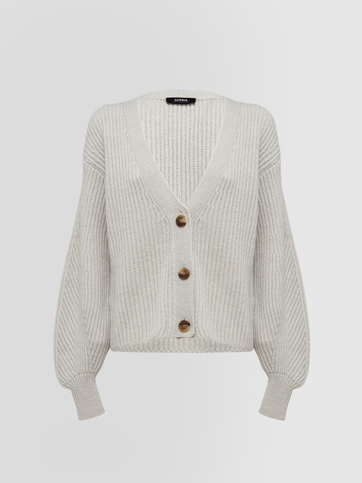 ALPHA STUDIO: FISHERMAN'S RIB STITCH CROPPED CARDIGAN
