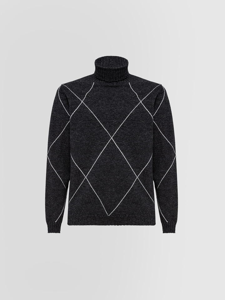 ALPHA STUDIO: MOULINE TURTLE NECK SWEATER?IN WOOL AND CASHMERE