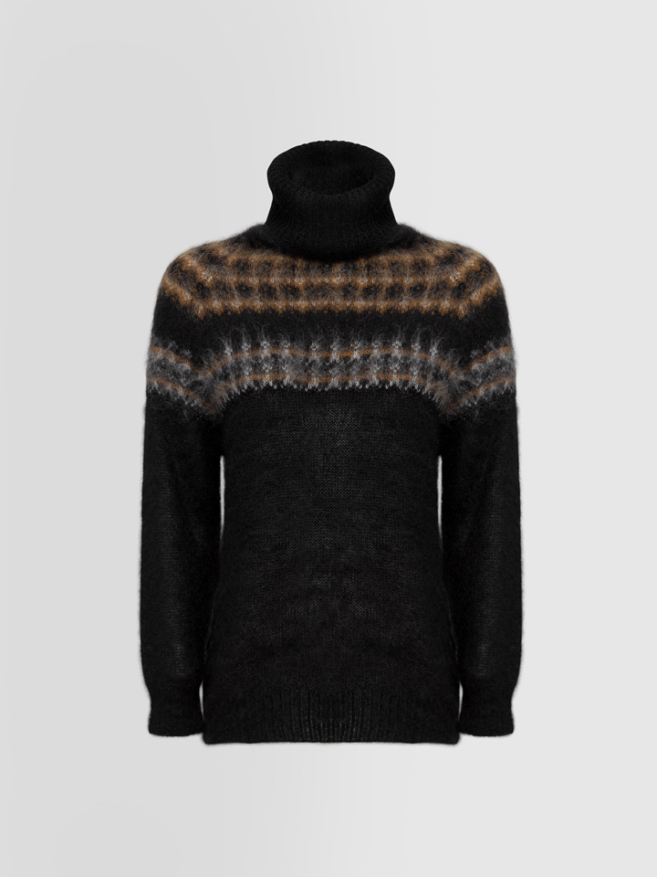 ALPHA STUDIO: BRUSHED TURTLE NECK SWEATER IN MOHAIR