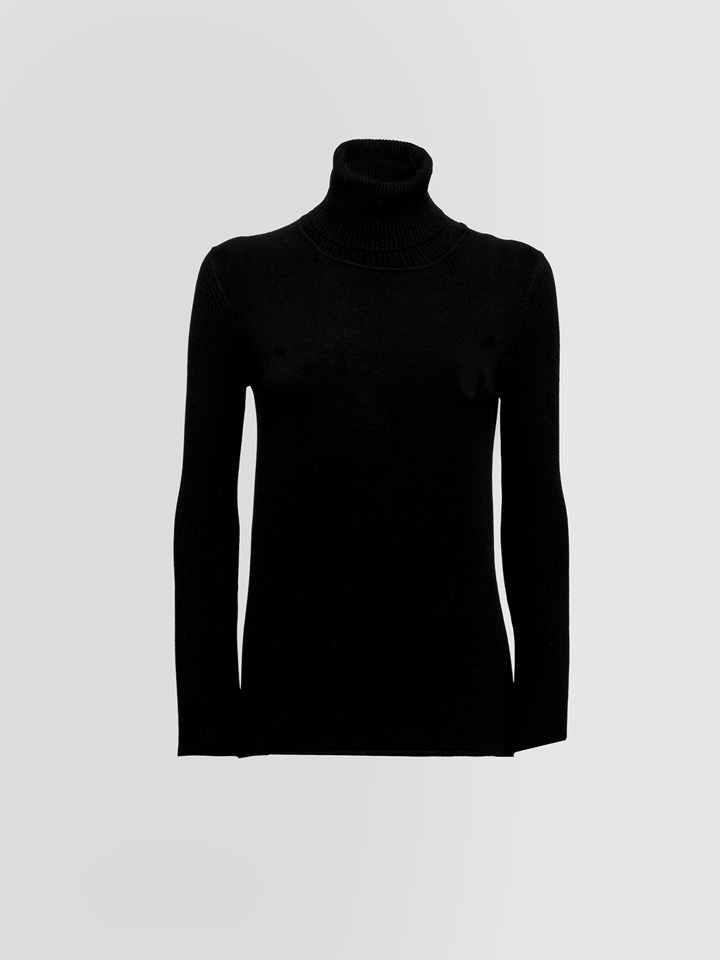 ALPHA STUDIO: RIBBED TURTLE NECK SWEATER IN STRETCH WOOL