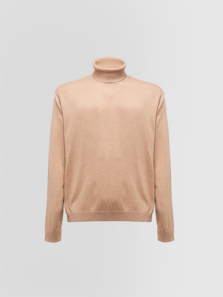 ALPHA STUDIO: TURTLE NECK SWEATER IN COTTON AND WOOL