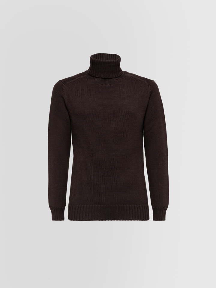 ALPHA STUDIO: TURTLE NECK SWEATER IN MERINO WOOL