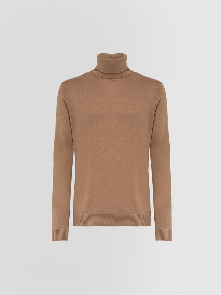 ALPHA STUDIO: TURTLE NECK SWEATER IN SILK AND CASHMERE