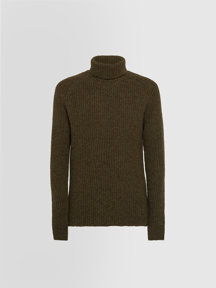 ALPHA STUDIO: JACQUARD TEXTURE TURTLE NECK SWEATER IN MIXED WOOL