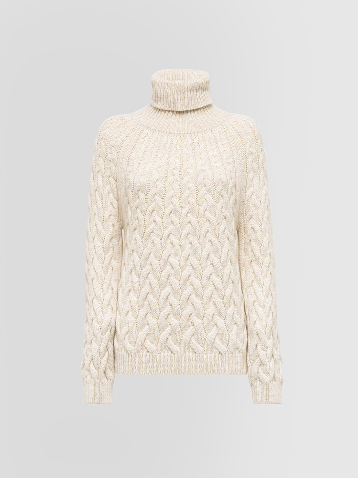 ALPHA STUDIO: DEGRADE BRAID CABLE STITCH TURTLE NECK SWEATER IN ALPACA AND WOOL