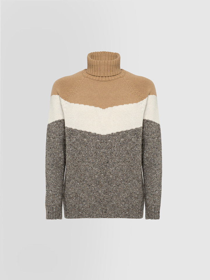 ALPHA STUDIO: COLOR-BLOCK TWEED TURTLE NECK SWEATER IN MIXED WOOL