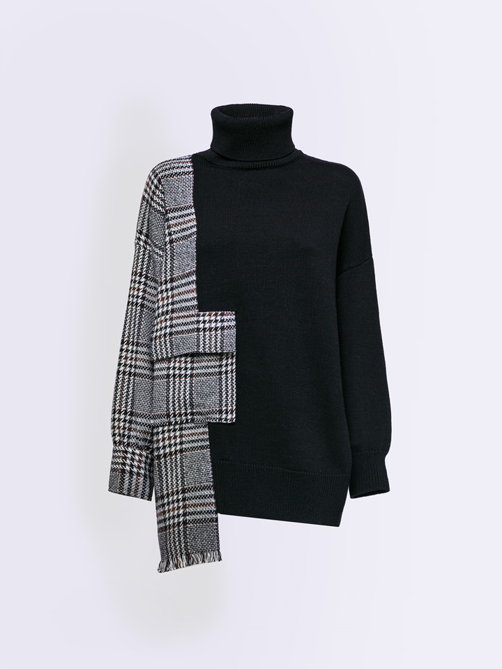 ALPHA STUDIO: WOVEN&TRICOT TURTLE NECK SWEATER IN WOOL