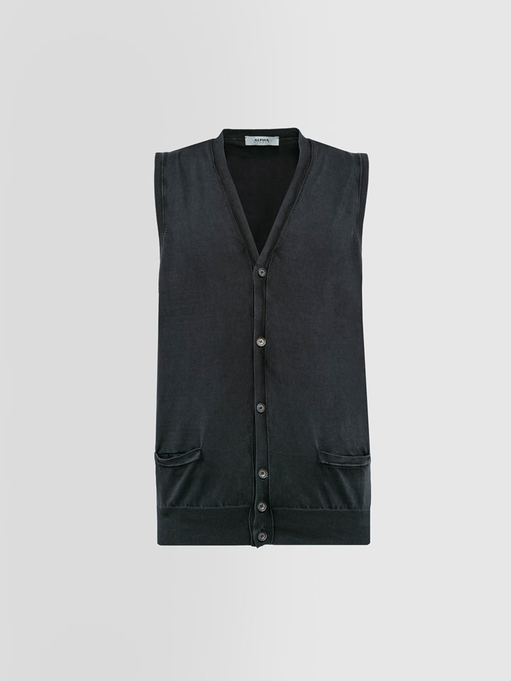 ALPHA STUDIO: GILET BASIC IN COTONE DYED