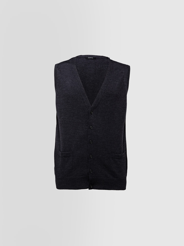 ALPHA STUDIO: GILET BASIC SLIM IN LANA MERINOS
