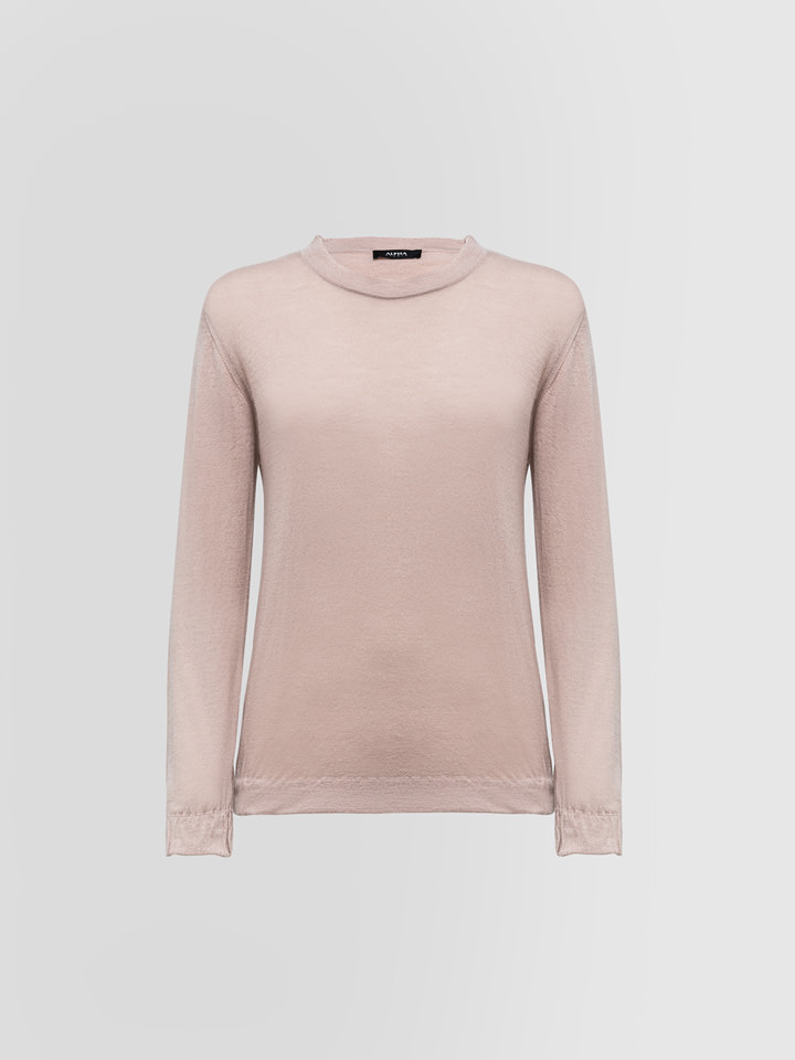 ALPHA STUDIO: LUXURY LABEL CREW NECK SWEATER IN BRUSHED CASHMERE