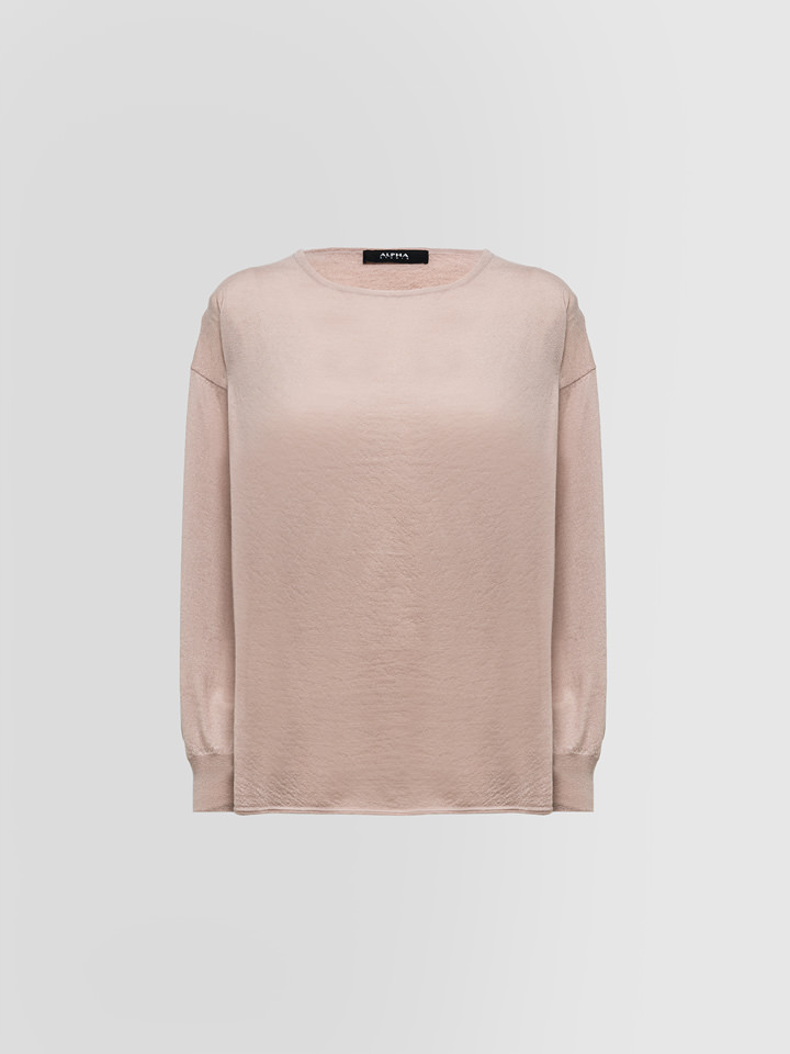 ALPHA STUDIO: LUXURY LABEL VOLUME KNIT SWEATER IN BRUSHED CASHMERE