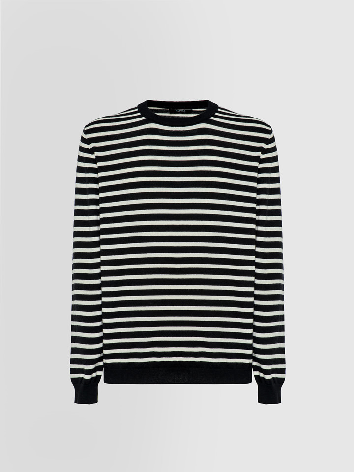 ALPHA STUDIO: MARINE STRIPE SPORT CHIC CREW NECK