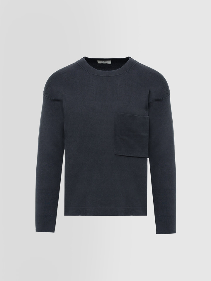 ALPHA STUDIO: BASIC CREW NECK IN DYED COTTON