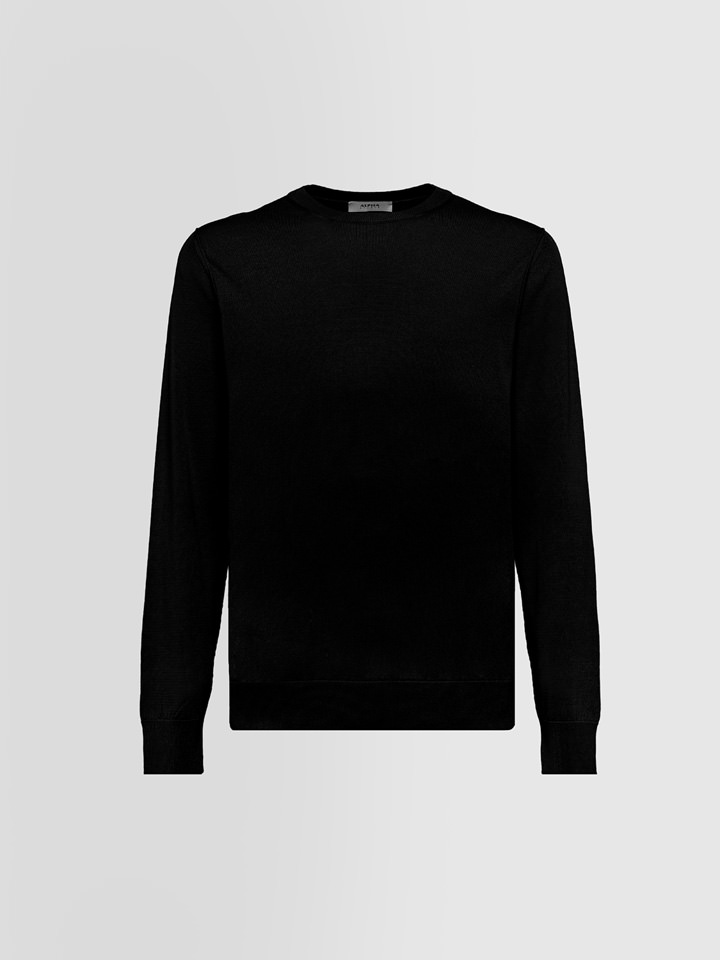 ALPHA STUDIO: BASIC CREW NECK IN SILK AND CASHMERE