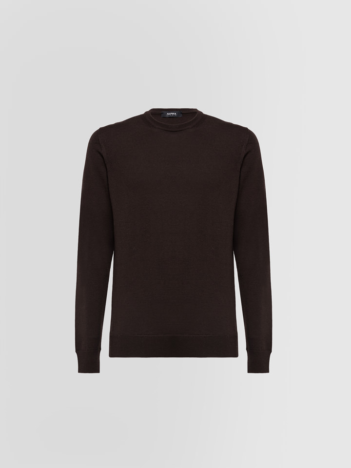 ALPHA STUDIO: BASIC SLIM CREW NECK IN WOOL