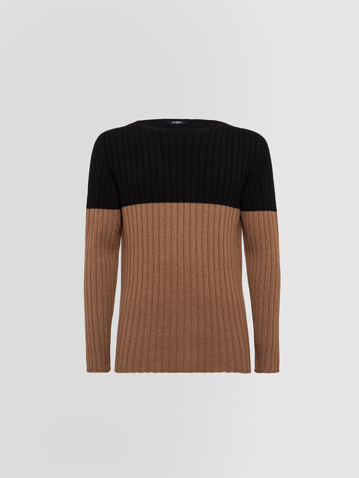 ALPHA STUDIO: BLOCK VANISE CREW NECK IN WOOL