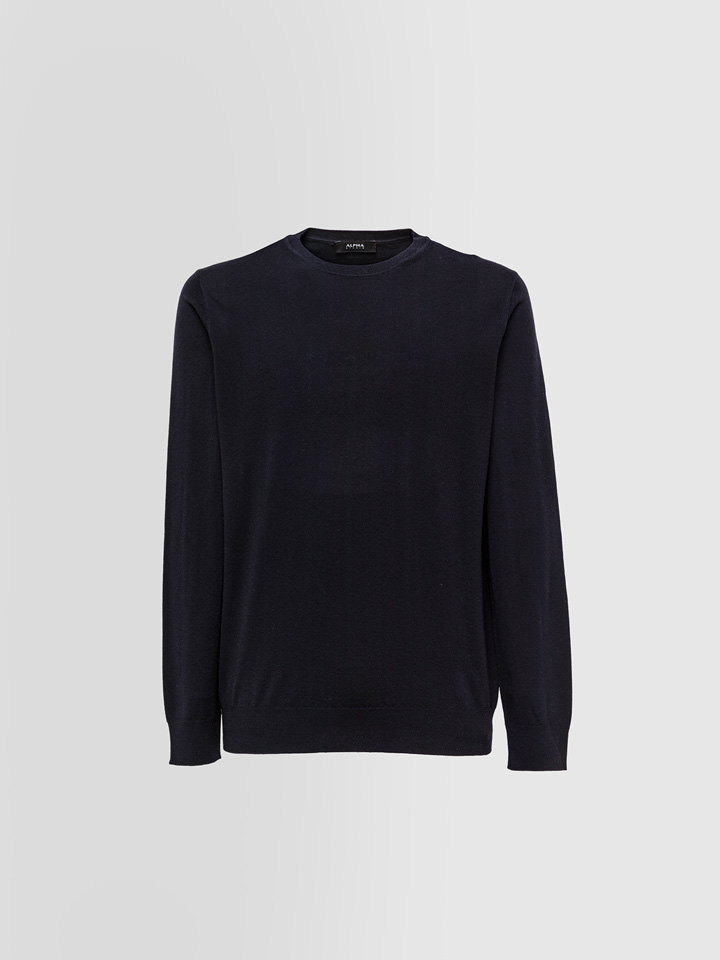 ALPHA STUDIO: DELUXE CREW NECK IN MERINO WOOL