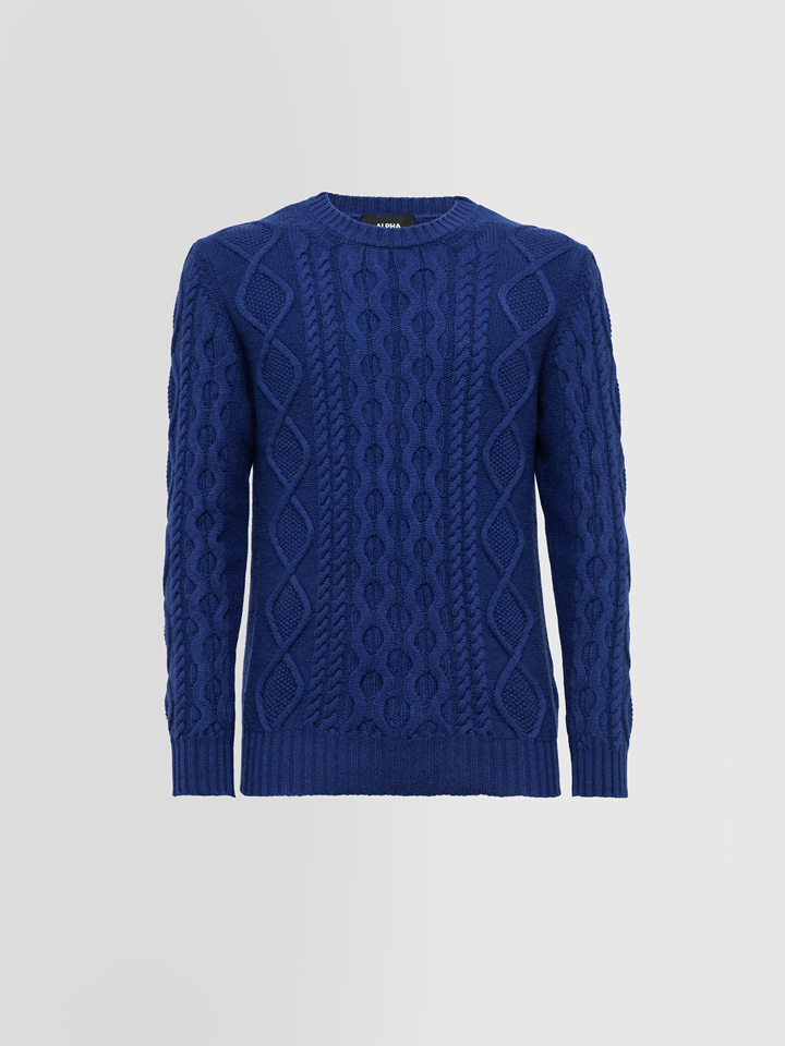 ALPHA STUDIO: FISHERMAN SPECIAL CREW NECK SWEATER IN WOOL AND CASHMERE