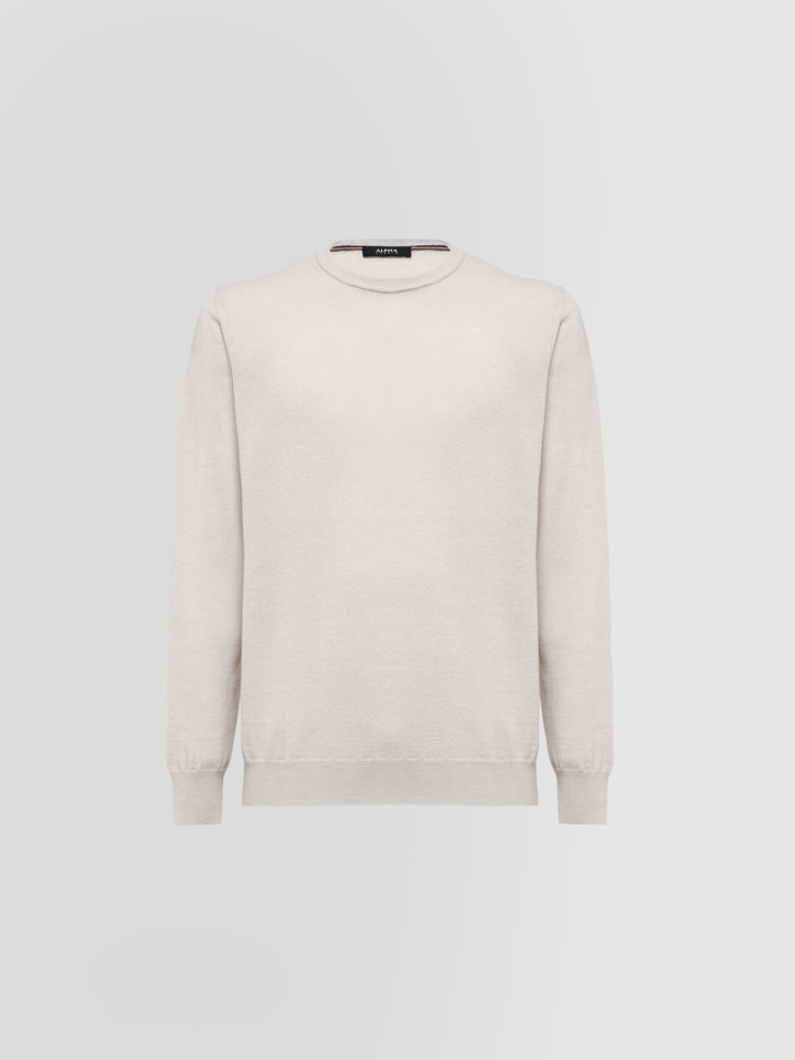 ALPHA STUDIO: CREW NECK IN WOOL AND CASHMERE
