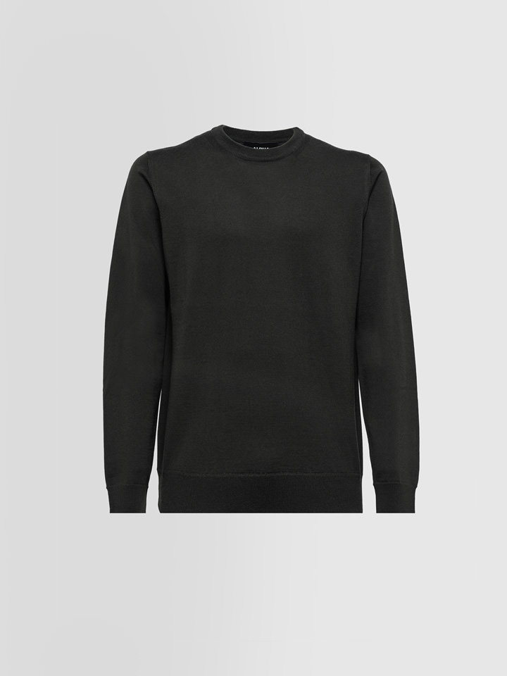 ALPHA STUDIO: CREW NECK SWEATER IN MERINO WOOL WITH PATCHES
