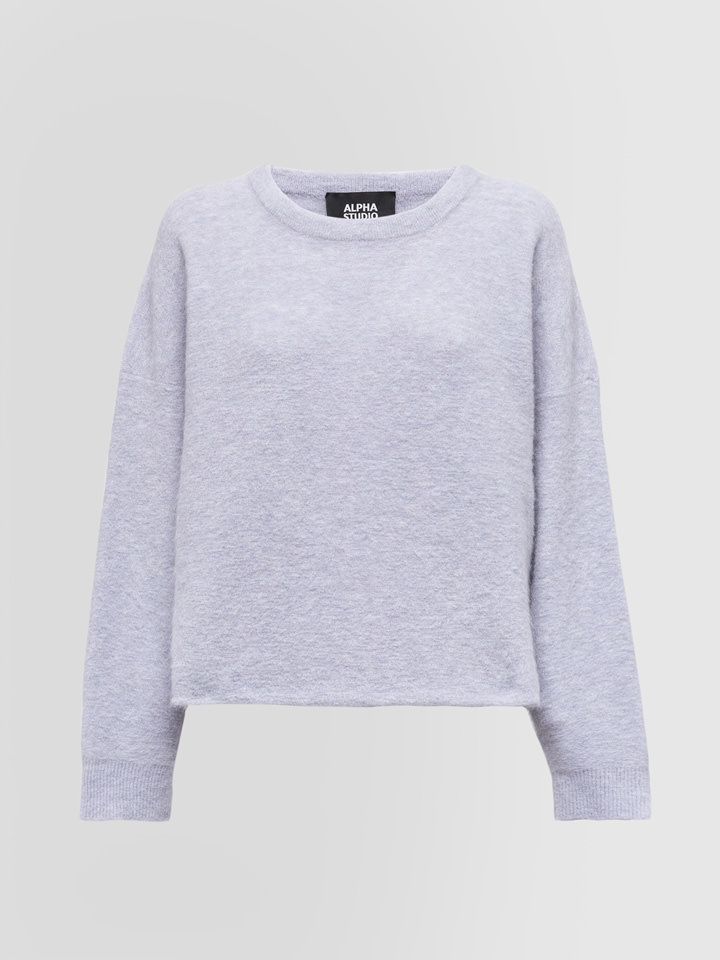 ALPHA STUDIO: CREW NECK SWEATER IN MOHAIR AND WOOL