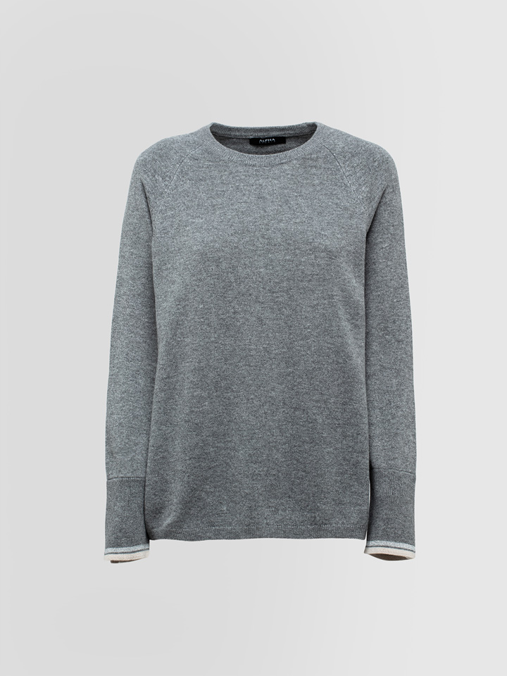 ALPHA STUDIO: LEISURE CREW NECK SWEATER IN MIXED WOOL