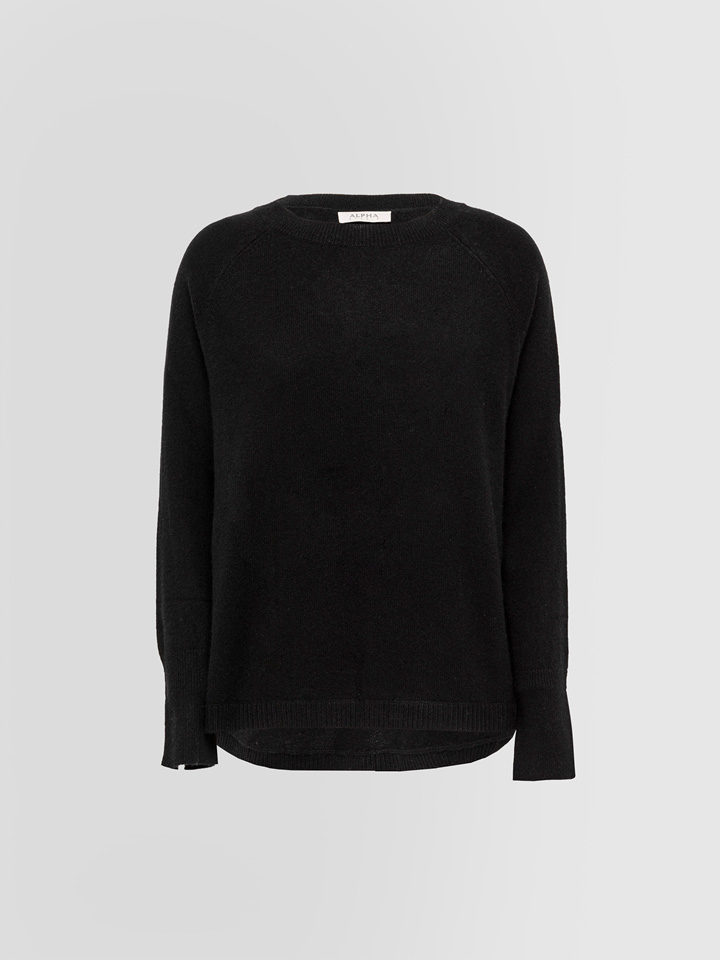 ALPHA STUDIO: LUXURY LABEL CREW NECK SWEATER WITH BUTTONS