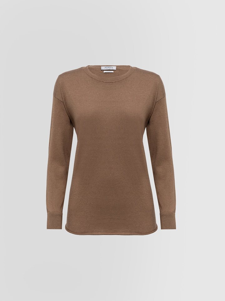 ALPHA STUDIO: LUXURY LABEL CREW NECK SWEATER IN SILK AND CASHMERE
