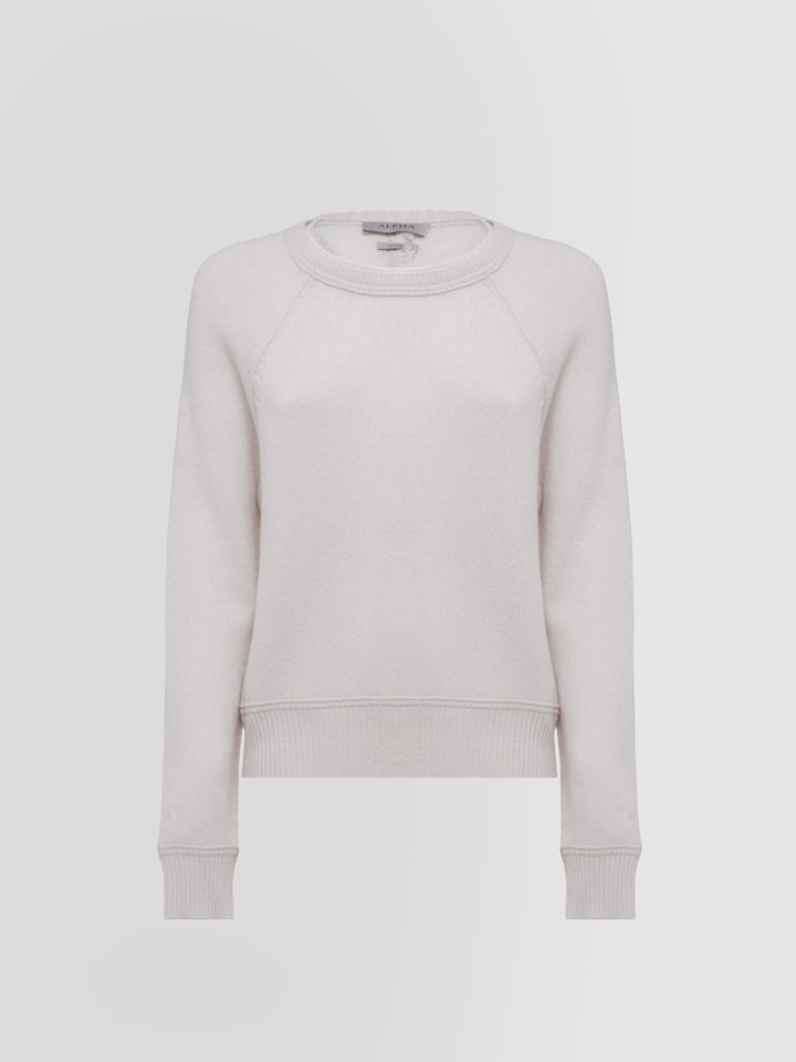 ALPHA STUDIO: LUXURY LABEL CREW NECK SWEATER SPECIAL CASHMERE