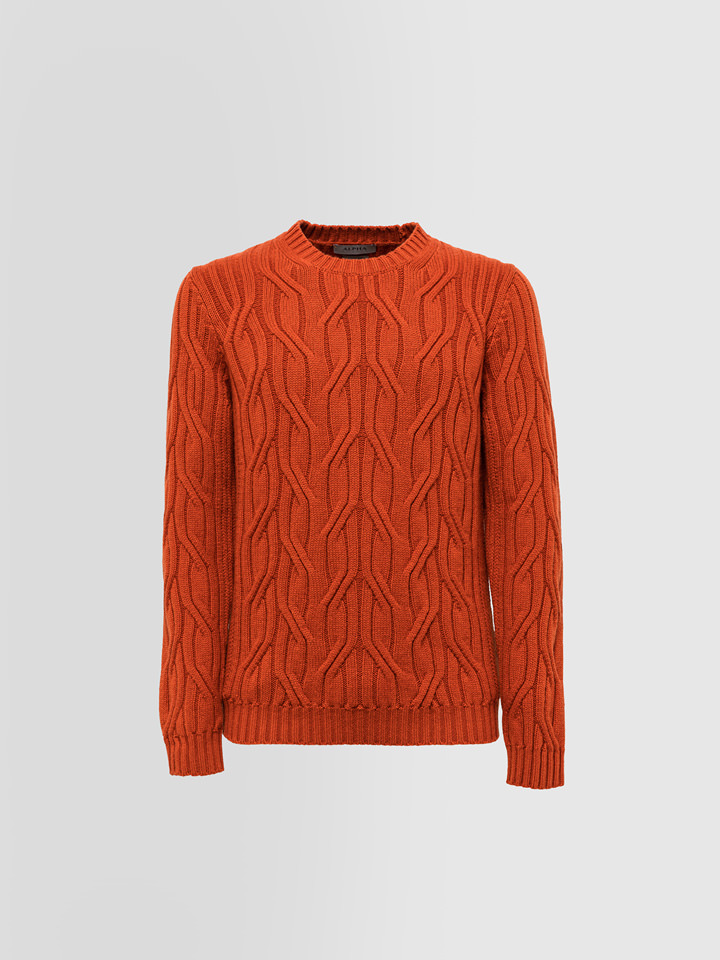ALPHA STUDIO: LUXURY LABEL CREW NECK IN BRAID CABLE STITCH CASHMERE