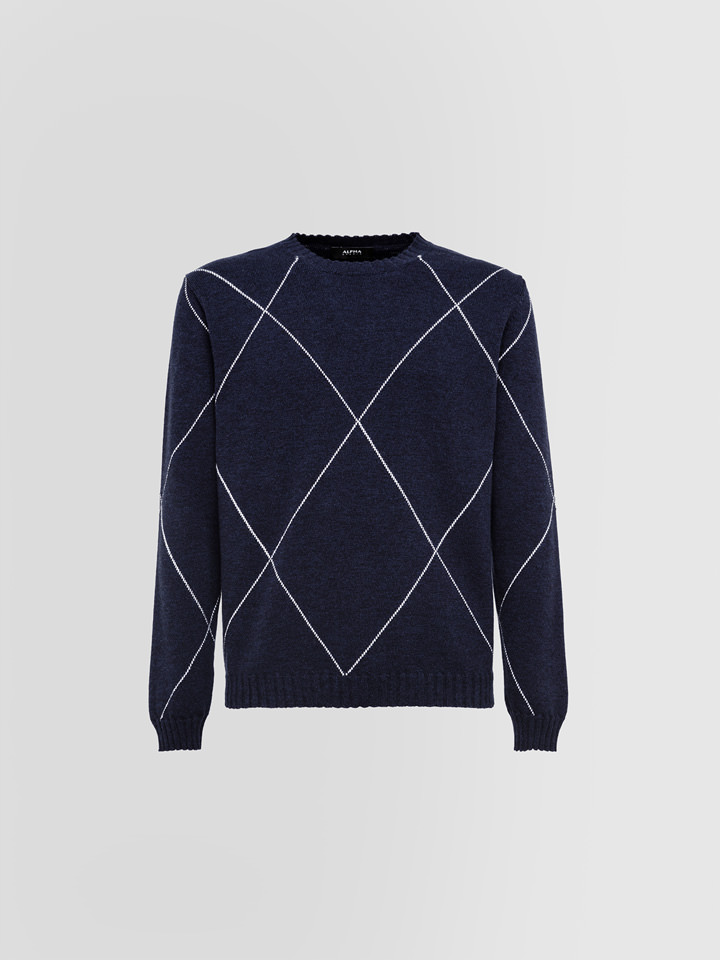 ALPHA STUDIO: MOULINE CREW NECK IN WOOL AND CASHMERE