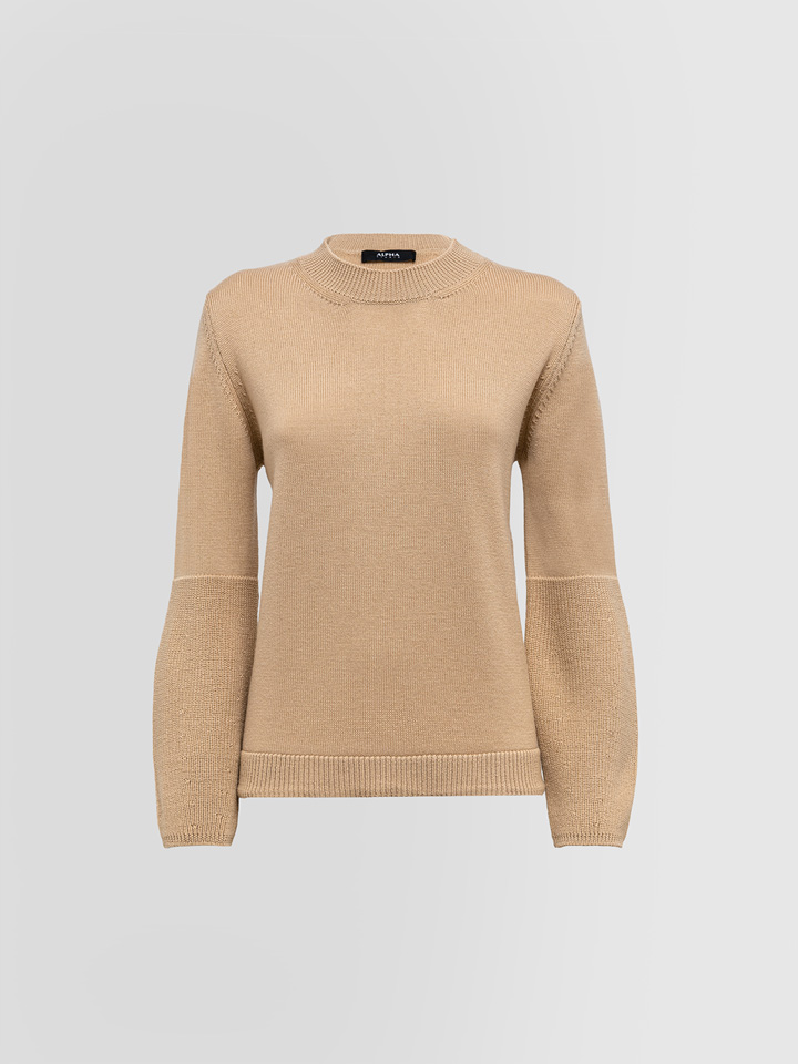 ALPHA STUDIO: CREW NECK SWEATER IN FISHERMAN'S RIB STITCH WOOL