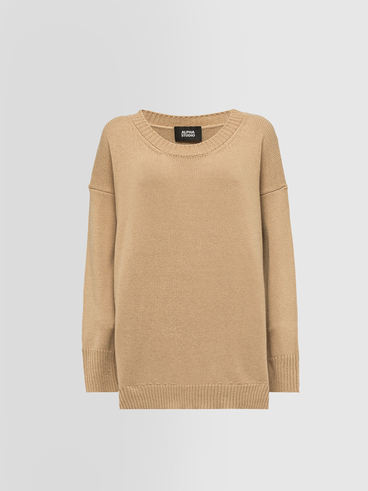 ALPHA STUDIO: OVERSIZED CREW NECK SWEATER IN WOOL AND CASHMERE