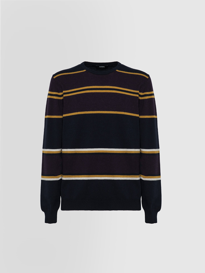 ALPHA STUDIO: BLOCK STRIPE CREW NECK IN MIXED WOOL