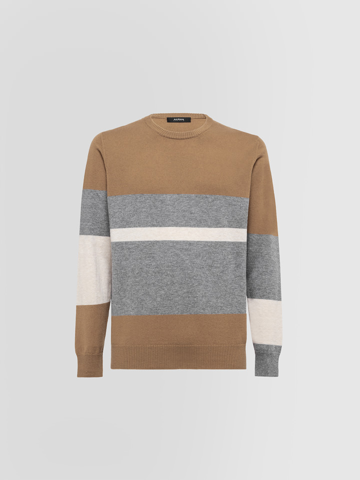 ALPHA STUDIO: GEELONG REGIMENTAL STRIPED CREW NECK IN WOOL