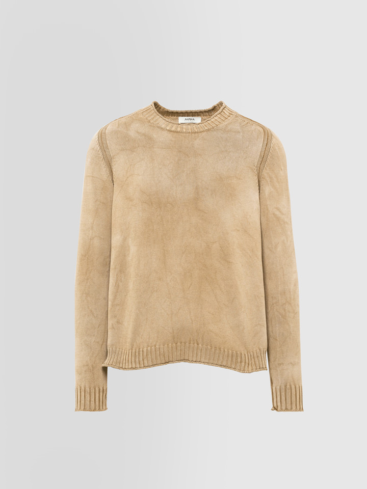 ALPHA STUDIO: ROULE FINISH CREW NECK IN DYED COTTON