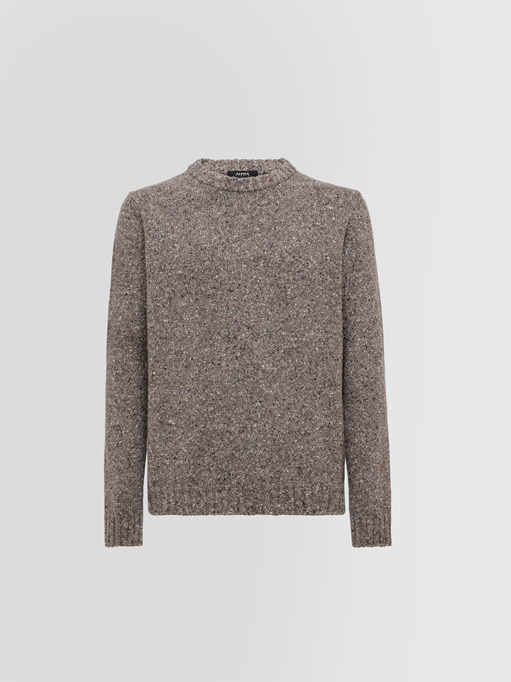 ALPHA STUDIO: TWEED FANTASY CREW NECK IN MIXED WOOL